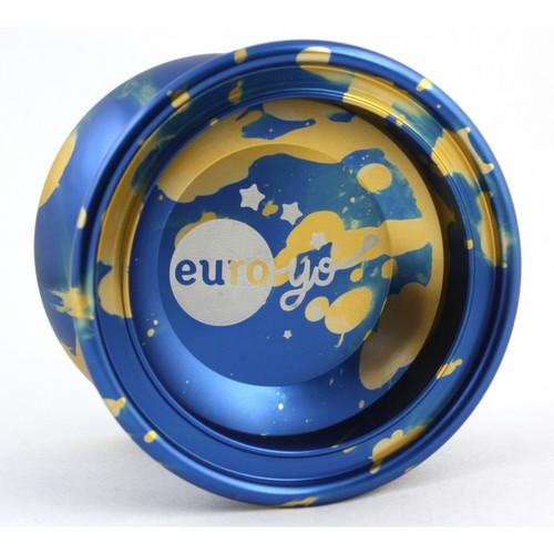 Euro-Yo Comet advanced trick unresponsive aluminium Yo-Yo - Blue with gold splash