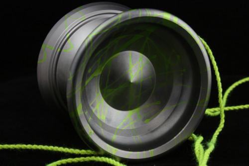 Born Crucial Confection Yo-Yo Gun metal grey with lime green splash