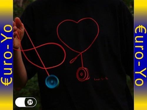 Love Heart Yoyo T-Shirt Black Xtra Large