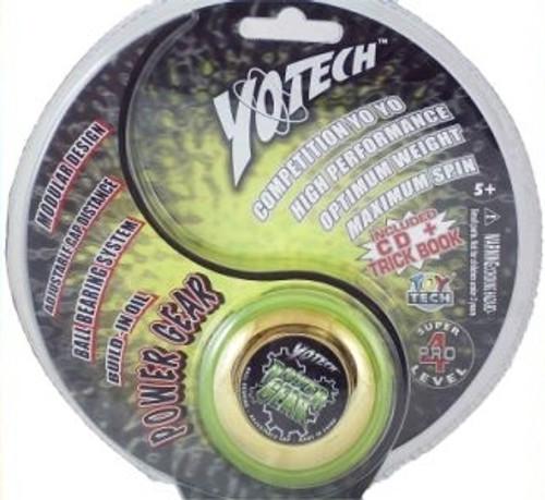 YoTech Power Gear Lime and gold yoyo