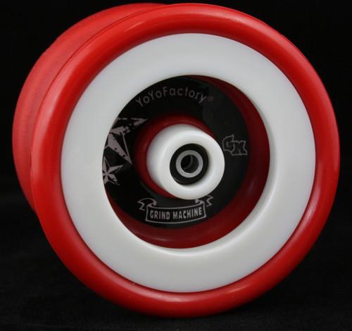 YoyoFactory Plastic Grind Machine Yo-Yo Red body with White rims