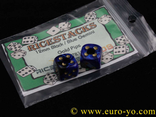 Ricestacks 12mm Black/blue Gemini with Gold pips