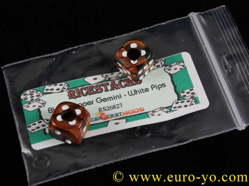 Ricestacks 12mm Black/Copper Gemini with white pips
