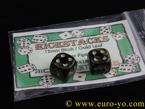Ricestacks 12mm Black/gold leaf with silver pips