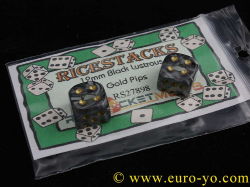 Ricestacks 12mm black lustrous with gold pips
