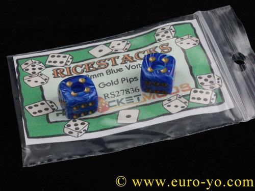 Ricestacks 12mm Blue Vortex with Gold pips
