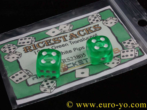 Ricestacks 12mm green translucent with white pips