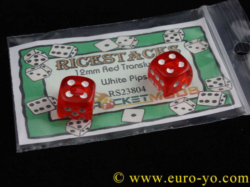 Ricestacks 12mm red translucent with white pips
