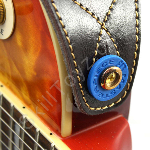 Blue Guitar Strap Lock shown in use on an electric guitar. Helps secure your strap to your guitar.