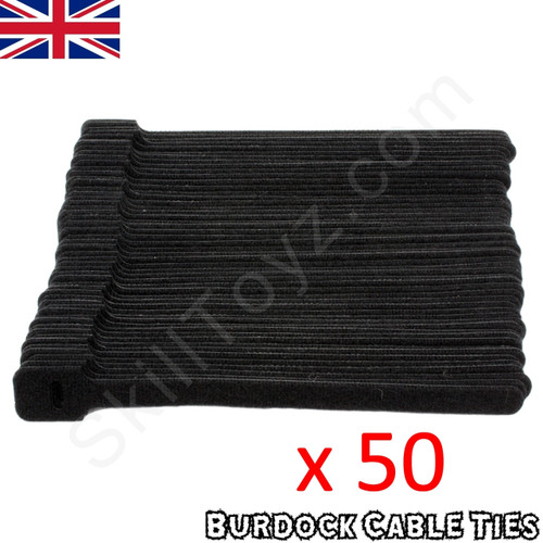 Pack of 50 hook and loop Velcro style black cable ties 152mm long x 8mm wide
