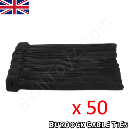 Pack of 50 hook and loop Velcro style black cable ties 225mm long x 12mm wide