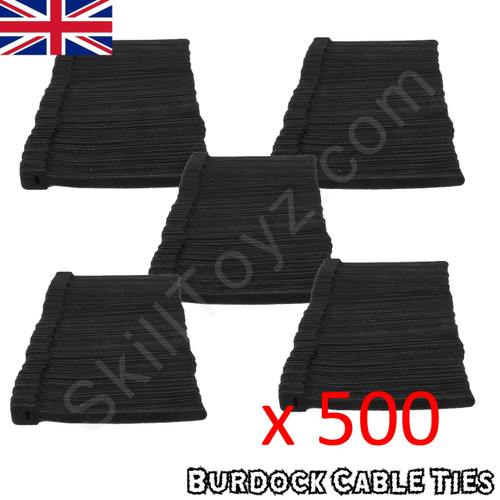 Pack of 500 hook and loop Velcro style black cable ties 152mm long x 8mm wide