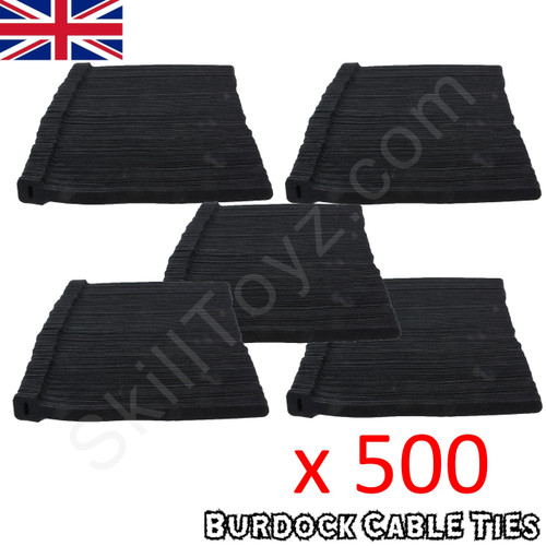 Pack of 500 hook and loop Velcro style black cable ties 225mm long x 12mm wide