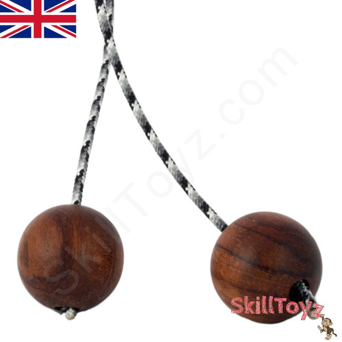 SkillToyz Chinese Cherry wooden Begleri with grey camo style type 275 Paracord.