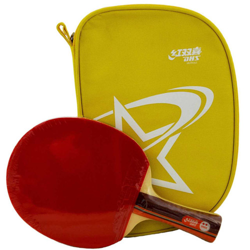 DHS (Double Happiness) Table Tennis Bat and Case, model R2002 with yellow zip case