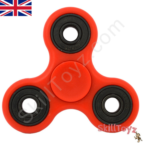 Shown with the supplied red finger pads fitted over the centre bearing of the spinner. Ready to play!
