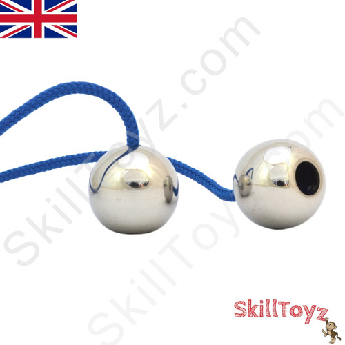 Assembled SkillToyz Stainless Steel Begleri with dark blue type 325 Paracord. Assembly is required. Supplied with 2 begleri beads, 2 lengths of paracord, and a soft carry bag.