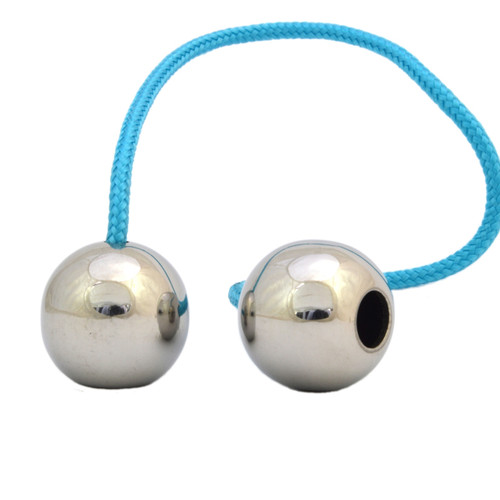 Begleri Polished Stainless Steel Beads with Type 325 Paracord Light Blue