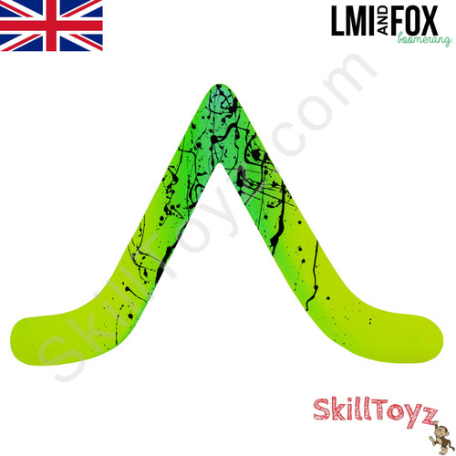 LMI and Fox Boomerangs Bargan Floating boomerang green with hand painted details RIGHT HANDED. Each one is hand finished so the designs will vary.