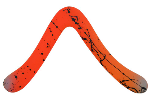LMI and Fox Boomerangs LEFTY Float boomerang LEFT HANDED orange. LEFT HANDED - Zurdo- gaucher - mancino - linkshändig. Heavier weight for longer range and stronger wind conditions. Better for more experienced boomerang throwers. Orange with painted decals.