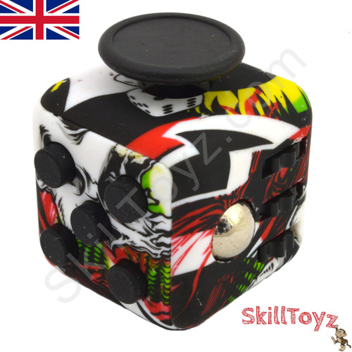 Premium Edition Fidget Cube featuring a larger body and soft touch rubberised finish. Comic edition.