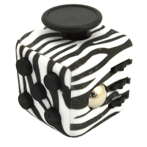 Premium Edition Fidget Cube featuring a larger body and soft touch rubberised finish. Zebra edition.