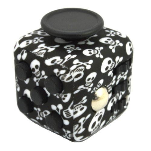 Premium Edition Fidget Cube featuring a larger body and soft touch rubberised finish. Skulls edition.
