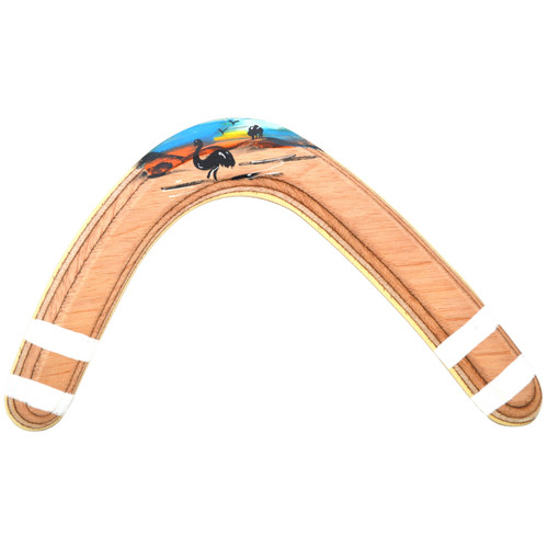 12 Inch Hook hand painted returning wooden boomerang by Wycheproof Boomerangs of Australia. Right Handed with a hand painted finish. For intermediate skill level throwers.