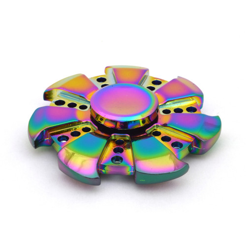 Rainbow precision engineered metal SuperHuman finger spinner executive fidget toy.