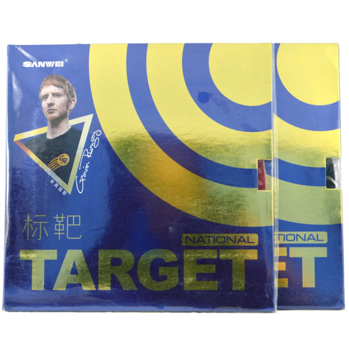 Sanwei National Target 40 plus Table Tennis Bat Rubbers max hardness front of packets. Price is for two rubbers, one red + one black.