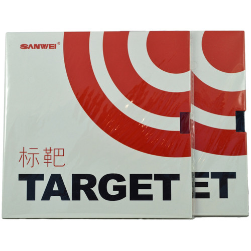 Sanwei Target Table Tennis Bat Rubbers 40 degree hardness front of packets. Price is for two rubbers, one red + one black.