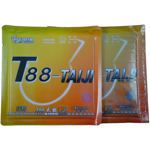 Sanwei T88 Taiji Table Tennis Bat Rubbers 36 degree hardness front of packets. Price is for two rubbers, one red + one black.