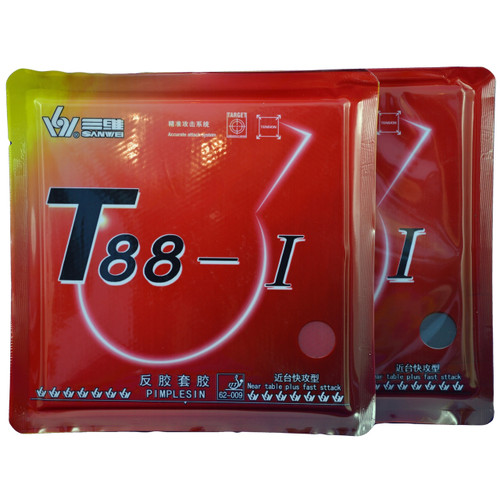 Sanwei T88-1 Table Tennis Bat Rubbers 39 degree hardness front of packets. Price is for two rubbers, one red + one black.