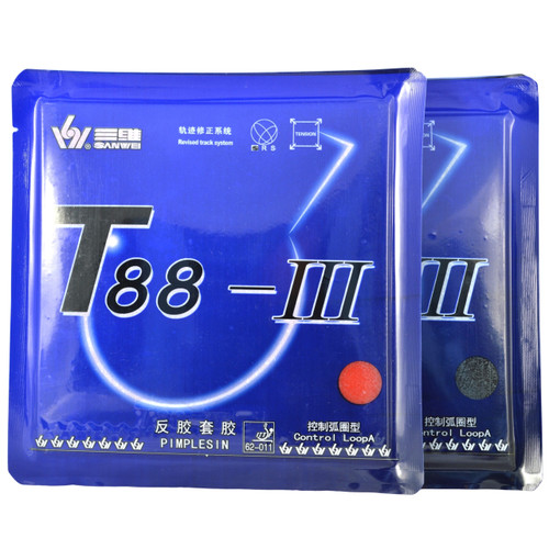 Sanwei T88-3 Control/Loop Table Tennis Bat Rubbers 40 degree hardness front of packets. Price is for two rubbers, one red + one black.