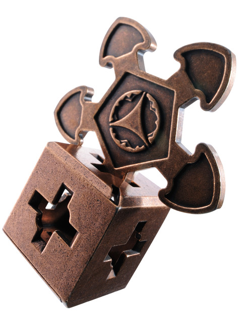 The O'Gear Normal (difficulty level 3) Huzzle Cast Puzzle by Hanayama, Japan.  Shown in its completed state. A disassembly and reassembly mind teaser.