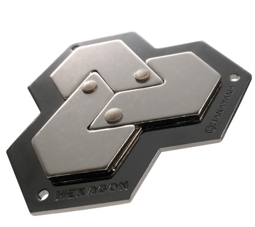 The Hexagon Hard (difficulty level 4) Huzzle Cast Puzzle by Hanayama, Japan.  Shown in its completed state. A disassembly and reassembly mind teaser.