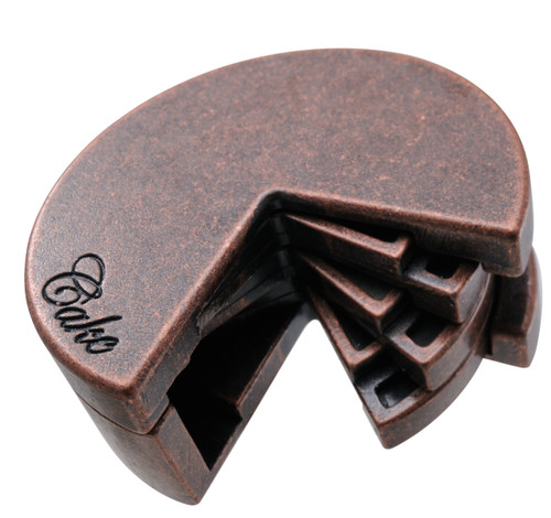 The Huzzle Cake Hard (difficulty level 4) Cast Puzzle by Hanayama, Japan.  Shown in its completed state. A disassembly and reassembly mind teaser.