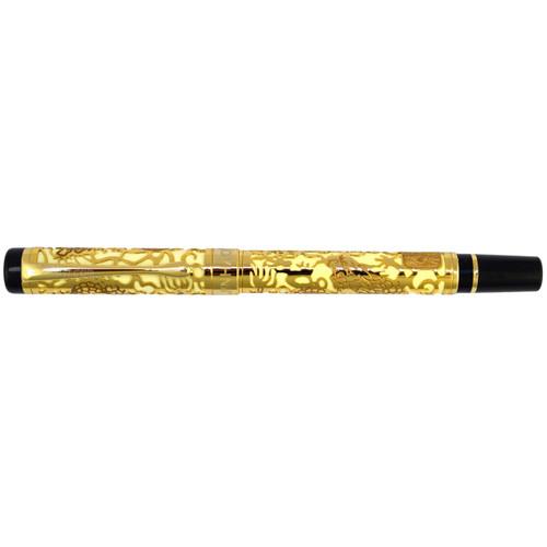 Jinhao 5000 cream and gold fountain pen with a iridium medium F nib and free ink cartridges