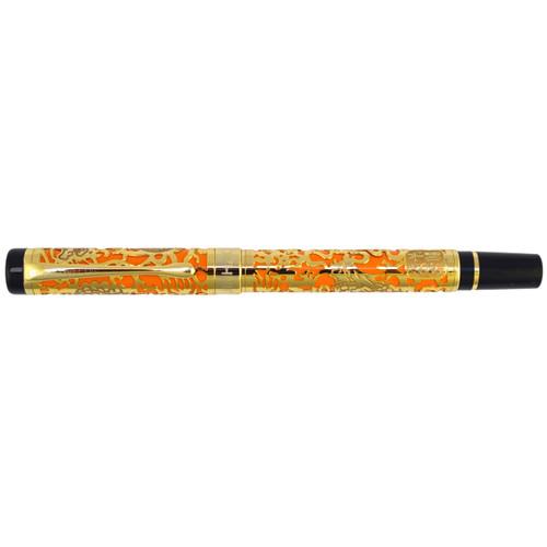 Jinhao 5000 orange and gold fountain pen with a iridium medium F nib and free ink cartridges