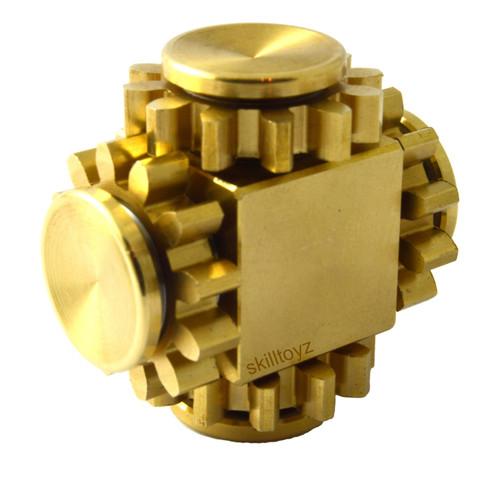 Brass Fidget Cube with Four Gears