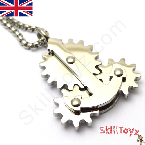 Fidget Necklace with Moving Gears Silver
