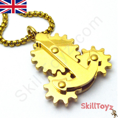 Fidget Necklace with Moving Gears Gold
