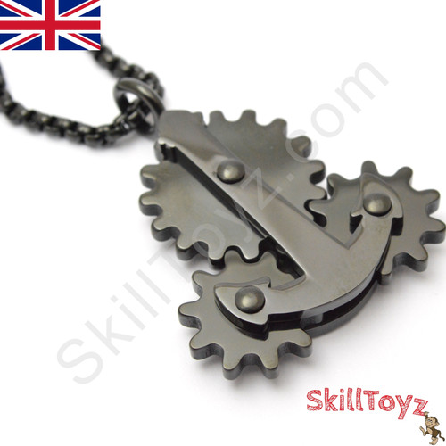 Fidget Necklace with Moving Gears Black