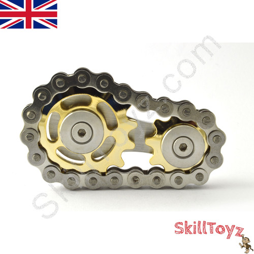 Deluxe Two Gear Bike Chain Executive Fidget Gadget Silver/Gold