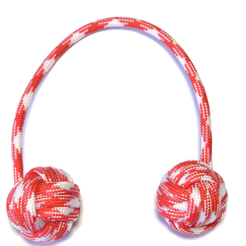 Monkey Fist Paracord Begleri 6 Inch red and white candy Edition For sale at skilltoyz.com