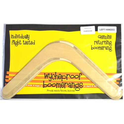 Wycheproof hardwood Boomerang LEFT HANDED shown in its makers packaging