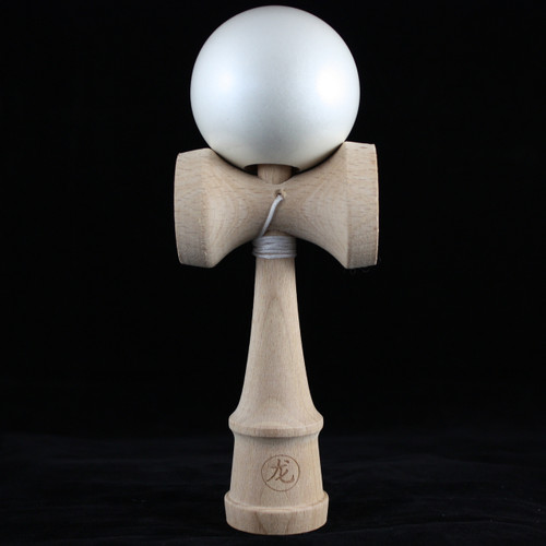 Dragon Wooden Kendama skill toy 'Pearl White' (metallic/pearlescent paint)