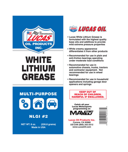 White Lithium Grease 12 Pack- 8oz tubes