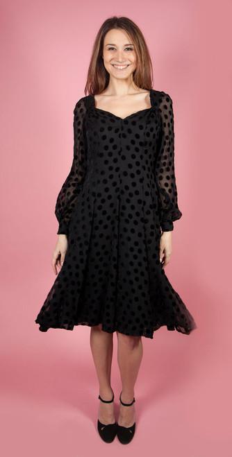 1970's Chiffon Billow Sleeved Dress with Velvet Polka Dots