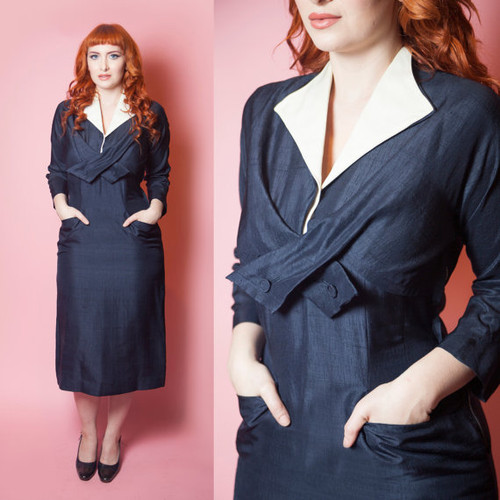 1940's Overlap Button Bust Silk Pocket Dress
